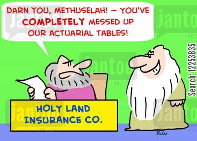 insures cartoon humor: HOLY LAND INSURANCE CO. , 'Darn you, Methuselah! -- You've completely