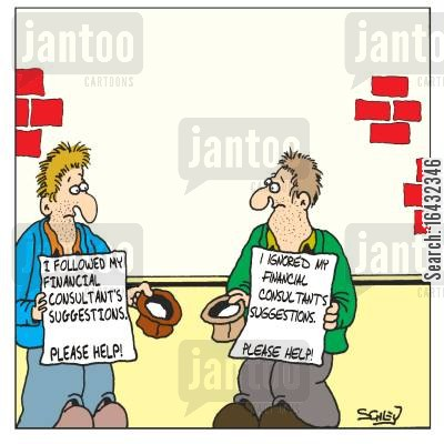financial market cartoon humor: Victims of Financial Consultant's
