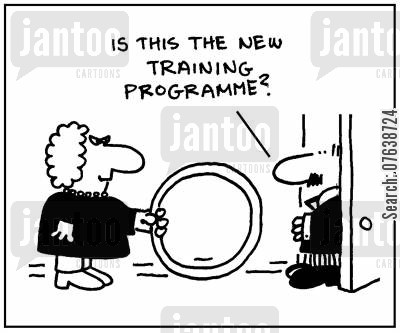 jumping through hoops cartoon humor: 'Is this the new training programme?'