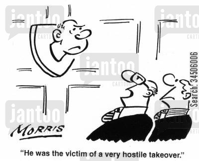 acquisition cartoon humor: 'He was the victim of a very hostile takeover.'