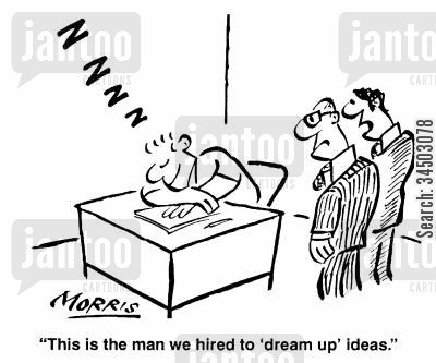 dreaming up cartoon humor: This is the man we hired to 'dream up' ideas.