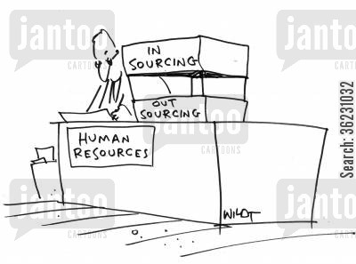 paper mountain cartoon humor: In sourcing Out sourcing