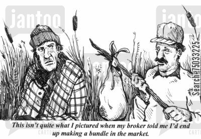 speculation cartoon humor: 'This isn't quite what I pictured when my broker told me I'd end up making a bundle in the market.'