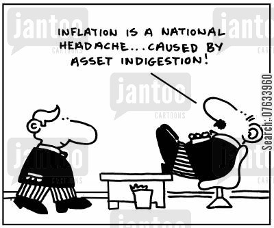 inflated cartoon humor: Inflation is a national headache. . . caused by asset indigestion!