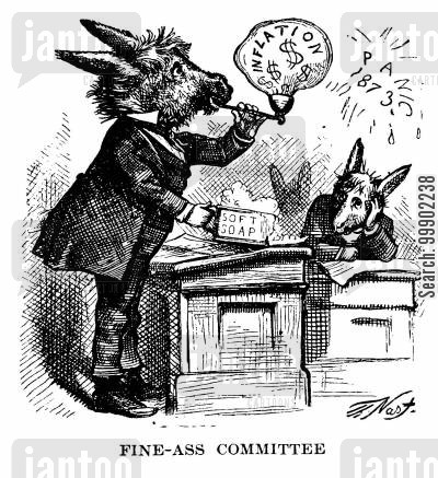 greenback party cartoon humor: Criticism of Inflationary Proposals in Response to 'Panic' of 1873 Market Downturn