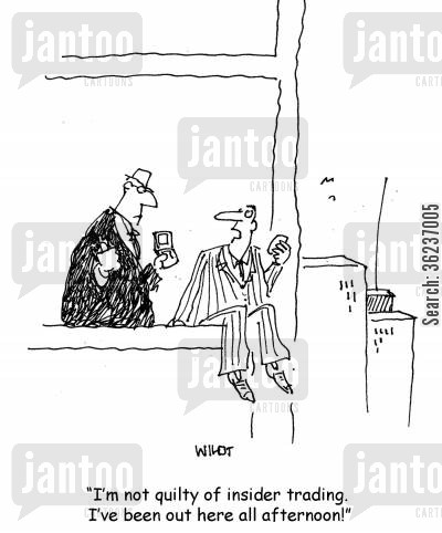 investors cartoon humor: I'm not guilty of insider trading. I've been out here all afternoon!