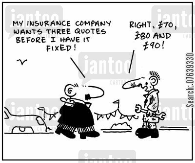 payouts cartoon humor: 'My insurance company wants three quotes before I have it fixed.' - 'Right, £70, £80 and £90.'