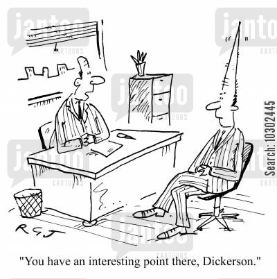 converses cartoon humor: 'You have an interesting point there, Dickerson.'
