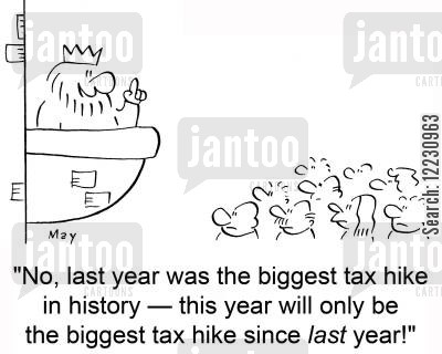 balconies cartoon humor: 'No, last year was the biggest tax hike in history — this year will only be the biggest tax hike since last year.'