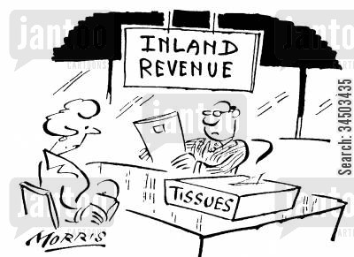 financial worry cartoon humor: Inland Revenue providing tissues for clients