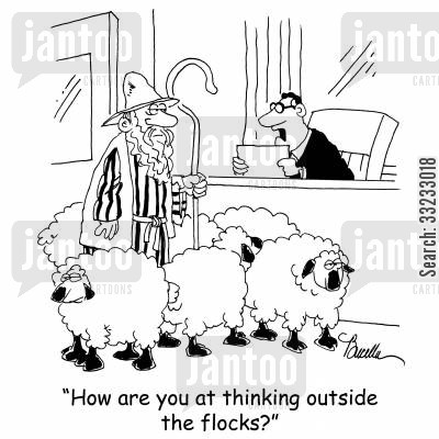 think outside the box cartoon humor: 'How are you at thinking outside the flocks?'