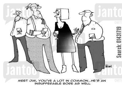 matchmaking cartoon humor: Meet Jim, you've a lot in common...he's an insufferable bore as well...