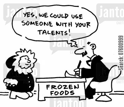 shopping centers cartoon humor: 'Yes, we could use someone with your talents!'
