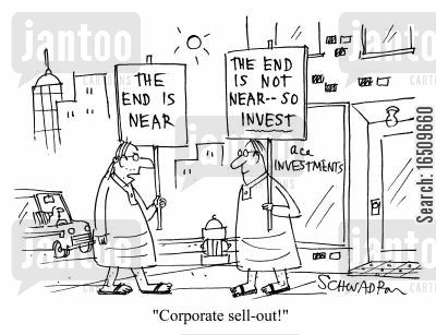 demonstrate cartoon humor: 'Corporate sell-out!'