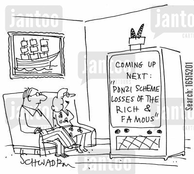 ponzi schemes cartoon humor: Coming Up Next: 'Ponzi scheme losses of the rich and famous.'