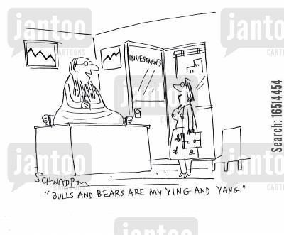 investment gurus cartoon humor: 'Bulls and bears are my ying and yang.'