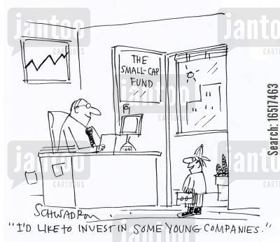 funded cartoon humor: 'I'd like to invest in some young companies.'