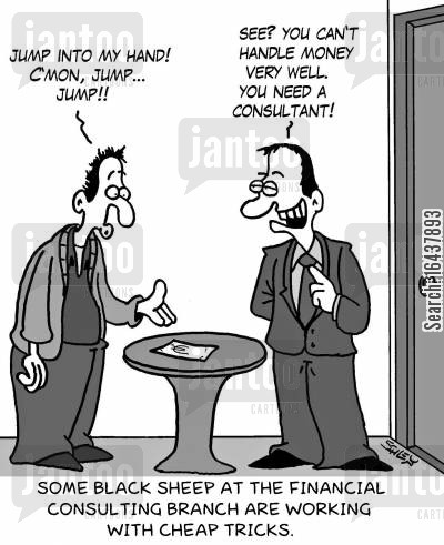 cheap tricks cartoon humor: Some black sheep at the financial consulting branch are working with cheap tricks.