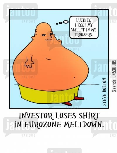 euros cartoon humor: Investor loses shirt in Eurozone meltdown.