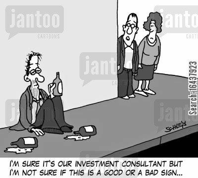 investment consultant cartoon humor: 'I'm sure it's our investment consultant but I'm not sure if this is a good or a bad sign...'