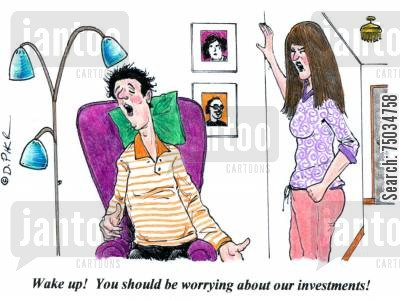 napper cartoon humor: 'Wake up! You should be worrying about our investments!'