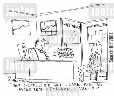 mint cartoon humor: 'Your portfolio did well. Care for an after-beat-the-market mint?'