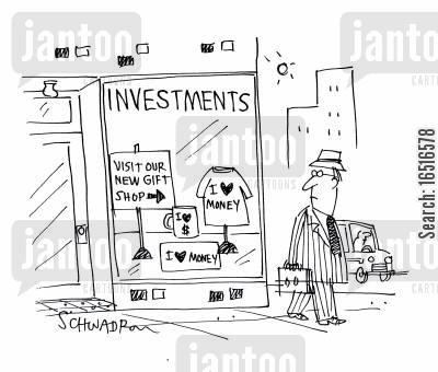 money lover cartoon humor: Investments - Visit our new gift shop.