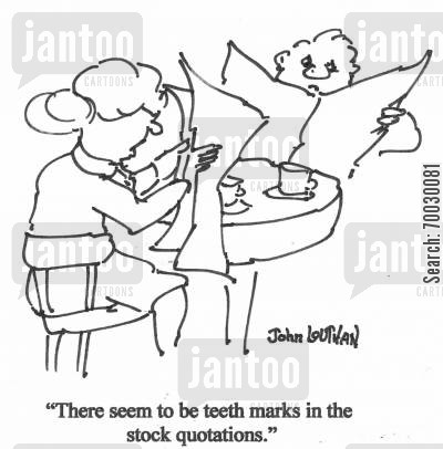 share prices cartoon humor: 'There seem to be teeth marks in the stock quotes.'