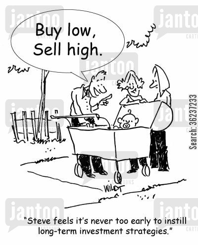 pushy parents cartoon humor: 'Steve feels it's never too early to instill long-term investment strategies.'