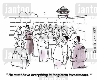 long term investments cartoon humor: 'He must have everything in long-term investments.'