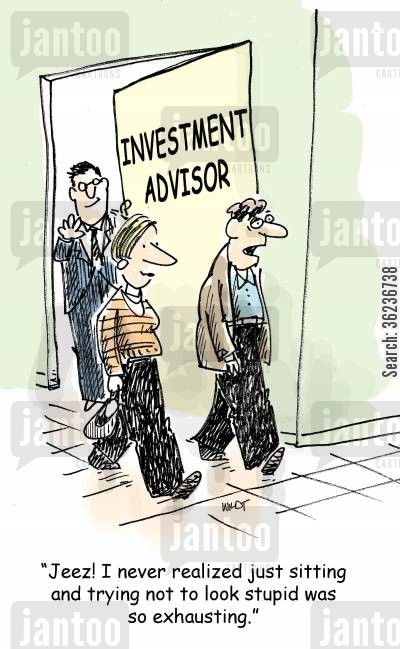 retirement fund cartoon humor: 'Jeez! I never realized just sitting and trying not to look stupid was so exhausting.'