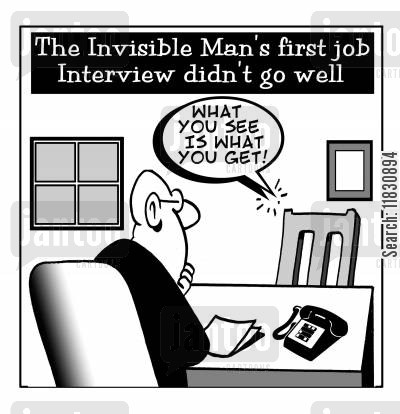 invisible man cartoon humor: The Invisible Man's job interview.