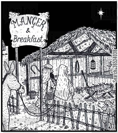 bed and breakfast cartoon humor: Joseph and Mary entering a B&B stable for the night.