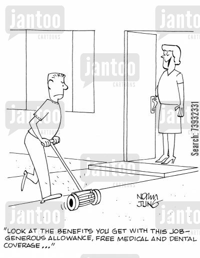garden chore cartoon humor: 'Look at the benefits you get with this job - generous allowance, free medical and dental coverage...'
