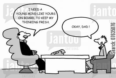 fresh thinking cartoon humor: I need a young mind like yours on board, to keep my thinking fresh. Okay Dad!