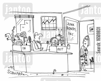 messy offices cartoon humor: Junk bonds, inc. InOut trays.