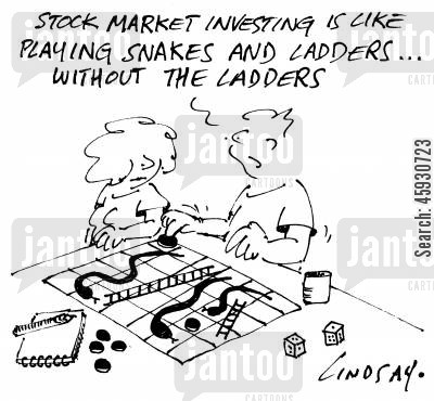 snakes and ladders cartoon humor: Stock market investing is like playing snakes and ladders - without the snakes.