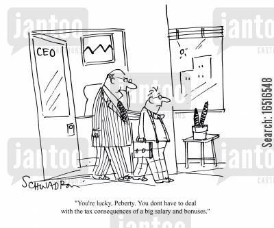 company bonus cartoon humor: 'You're lucky, Peberty. You don't have to deal with the tax consequences of a big salary and bonuses.'