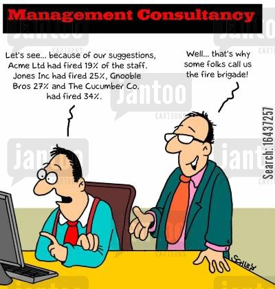 staff cuts cartoon humor: 'Let's see... because of our suggestions, Acme Ltd had fired 19 of the staff...'