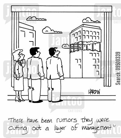 cutting back cartoon humor: 'There have been rumors they were cutting out a layer of management.'