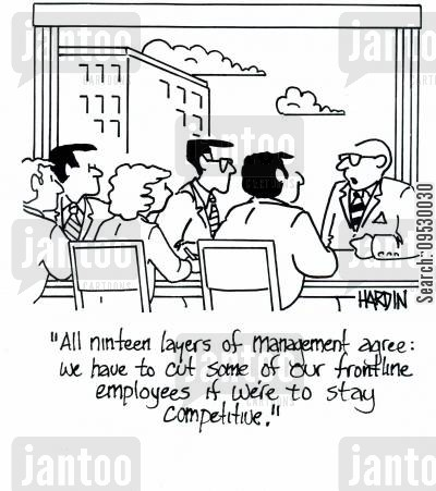 frontline employees cartoon humor: 'All ninteen layers of management agree: We have to cut some of our frontline employees if we're to stay competitive.'