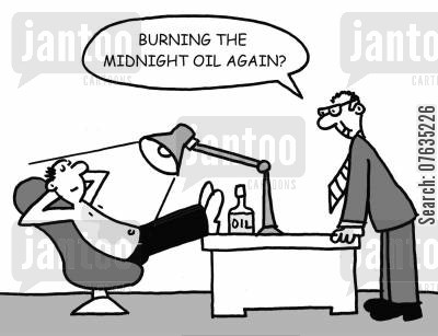 slacks cartoon humor: Burning the midnight oil again?