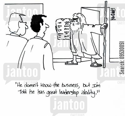 leadership skills cartoon humor: 'He doesn't know the business, but I'm told he has great leadership ability.'