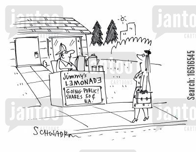 selling shares cartoon humor: Jimmy's Lemonade, going public! Shares.