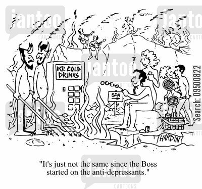 anti depressants cartoon humor: 'It's just not the same since the boss started on the anti-depressants.'