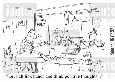 thinking positively cartoon humor: 'Let's all link hands and think positive thoughts.'