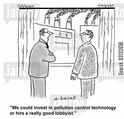environmental consciences cartoon humor: 'We could invest in pollution control technology or hire a really good lobbyist.'