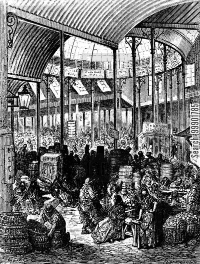 victorian cartoon humor: The Borough Fruit and Vegetable Market, Southwark