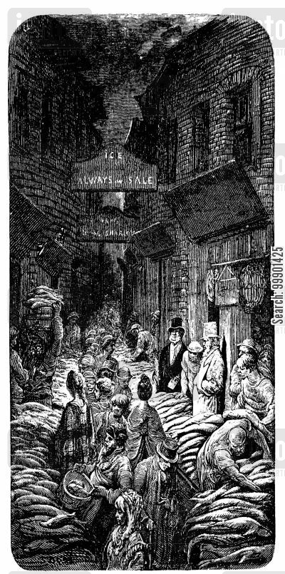 fishwives cartoon humor: Billingsgate Fish Market- Street Scene