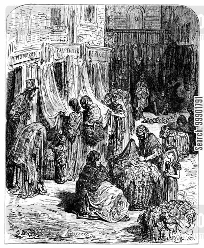 rag sellers cartoon humor: Women Search through Rags at Street Market